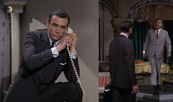 Note the sartorial error of both suits unbuttoned (left). As punishment, Connery was forced to spend his next seven scenes looking away from the camera (right).