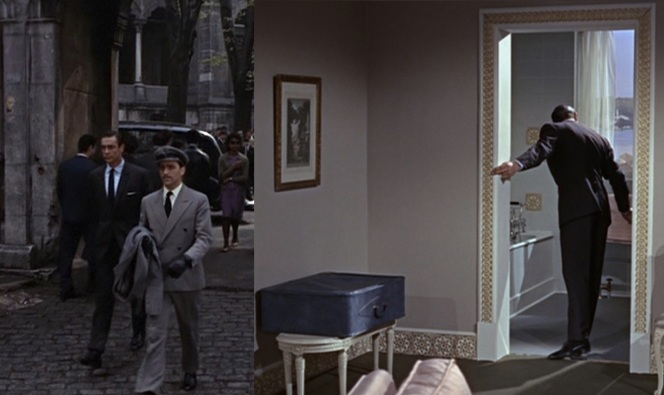 Also note Connery's blue suitcase, which somehow manages to carry the four other suits he wears in Istanbul as well as an abundance of pale blue poplin button-down shirts.