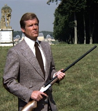 Roger Moore hunting as James Bond in Moonraker.