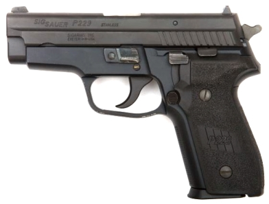 The SIG-Sauer P229, pistol of choice for CIA assassins (according to the movies). Image from IMFDB, a great resource for firearms enthusiasts, movie enthusiasts, and firearms-in-movies enthusiasts.