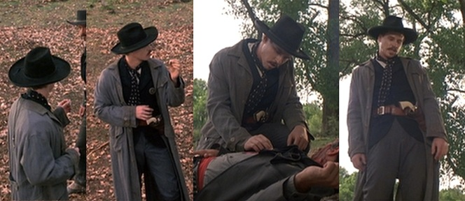 The four stages of a Doc Holliday kill: 1) Eye up your opponent 2) Challenge your opponent 3) After killing your opponent, mock him 4) Walk away without remorse