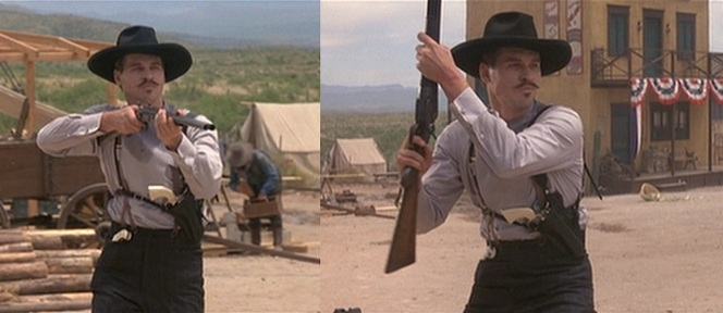 So Wyatt Earp's logic says that the sight of THIS won't make a group of drunken, armed cowboys nervous? Okay, Wyatt.