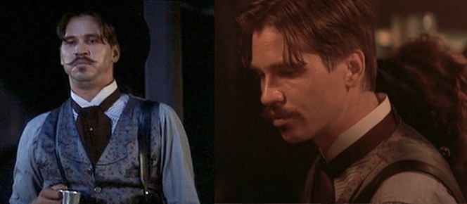 Whether the action is with pistols or a piano, Doc Holliday recommends wearing a gray silk brocade vest.