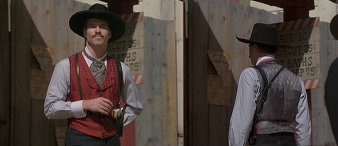 Interestingly, Doc is wearing this color vest when he challenges Johnny Ringo to