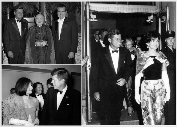 Like his pal Sinatra, Kennedy knew how to wore a tux. He wore it with celebrities (Barbra Streisand, lower left) or even an inappropriately white tie-clad Nixon (upper left).