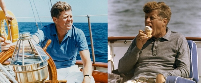 Kennedy embraced warm days in the sun with a short-sleeve blue polo. Of course, on cooler days he would wear a long-sleeve polo but still opt for an ice cream cone.