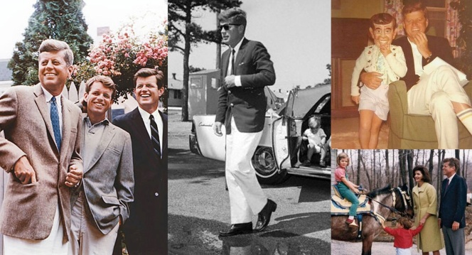 Kennedy sports seasonal casual when with his family. (Left) - A tweed sport coat when sharing a laugh with his brothers. (Center) - White trousers while on the campaign trail with his kids bundled into a sharp Lincoln Continental. (Upper Right) - Caroline dons a mask of her father around Halloween. (Lower Right) - A navy blazer and flannels for a winter outing with the kids.