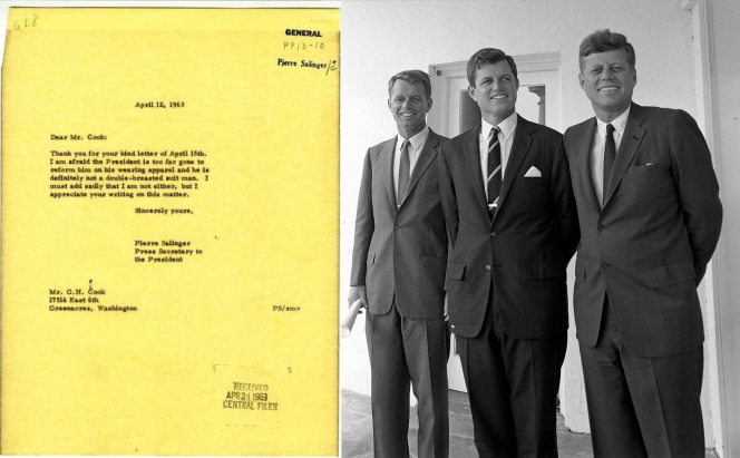The mysterious Mr. Cook's goal was doomed from the outset; all of the Kennedy men preferred single-breasted suits.