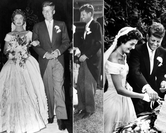 Kennedy celebrated his wedding in traditional morning dress, with a boutonnière and white handkerchief embellishing the look.