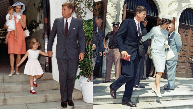 Evidently, the press loved getting photos of President and Mrs. Kennedy on stairs. Here, Kennedy wears oxblood shoes and a red tie with both a solid gray suit and a dark blue pinstripe suit.