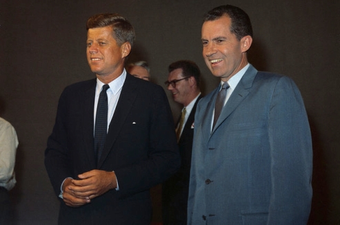 From this rare color photo, we are able to see Kennedy's cool, confident look with the white handkerchief just peeking out from his breast pocket. Nixon, on the other hand, just looks like Nixon.
