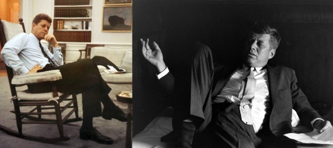 Kennedy in a posed moment in the Oval Office and a more candid moment while campaigning a few years earlier. The shirts, though they differ in color, carry the JFK trademarks of French cuffs, slim spread collar, and monogram.