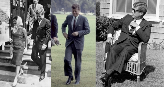 Kennedy's trousers also typically had shorter breaks, especially as his presidency progressed. Luckily, he wore suit-matching socks to continue his leg line into the shoes.