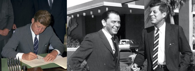 Kennedy wears ties with the British directional stripe. Note that these are not the traditional regimental tie, as that would be too British-looking. Also note Kennedy's pal Sinatra with him, during the filming of Ocean's Eleven. The suit Sinatra is wearing can be found elsewhere on this blog.