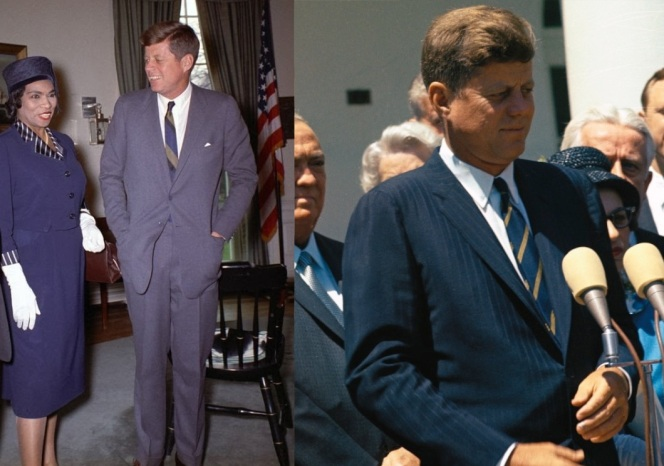 Kennedy wears his American-striped ties with both solid gray and blue tonal pinstripe suits. Note that, as usual, he has both buttons of his gray suit fastened.