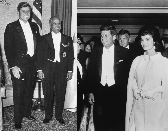 Whether with his lovely wife or a visiting dignitary, Kennedy always dressed to impress when wearing white tie.