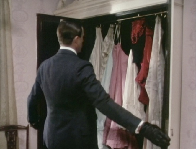 """What to wear today...? Oh, hell, these are all women's clothes!"""