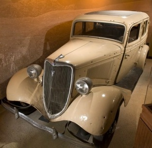 The film's replica of the death car, on display here at the National Museum of Crime & Punishment in Washington, DC.