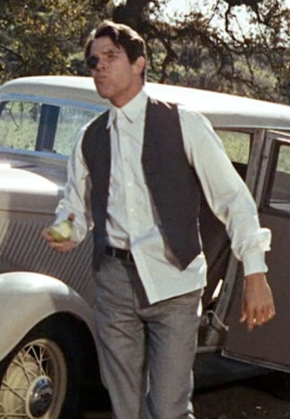 Warren Beatty as Clyde Barrow in Bonnie and Clyde.