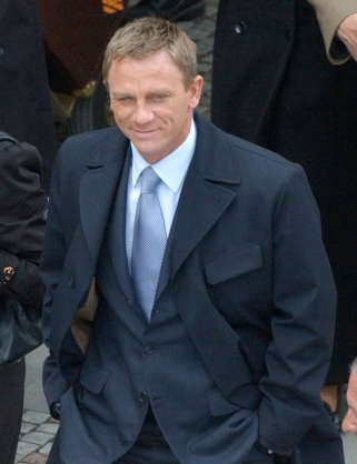 Daniel Craig on set as James Bond in Casino Royale.