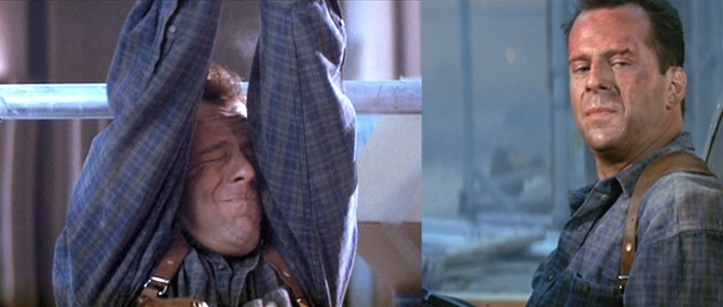 McClane's reactions to stress are: 1) Totally freak out, as seen on the left 2) Be utterly nonchalant, as seen on the right