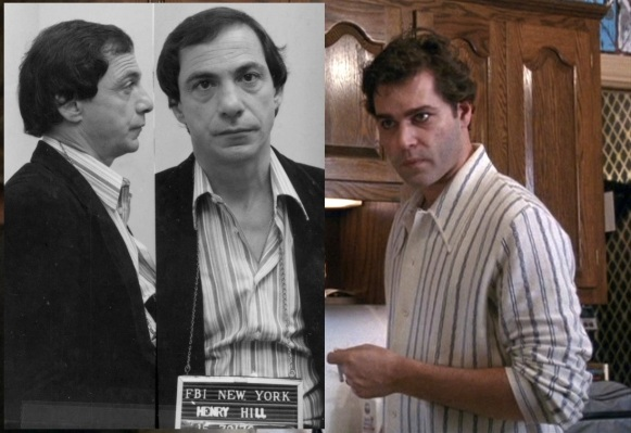 The real Henry's mugshot from the day and Liotta as Henry. Well, he definitely wore a striped shirt.