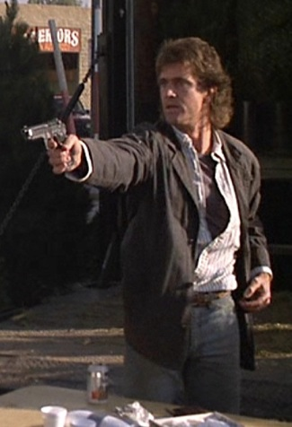 Mel Gibson as Det. Martin Riggs in Lethal Weapon.