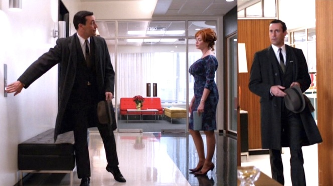 Not even a lovely coat like Don's could distract a man from looking at Christina Hendricks in this photo.