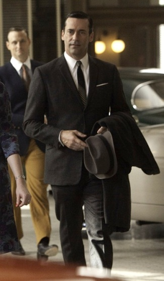 "Jon Hamm as Don Draper on Mad Men, episode 5.10: ""The Christmas Waltz""."