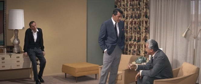 Three stages of cool: Frank's uber-casual, Dean's blazer and slacks, and Romero's gray business suit.