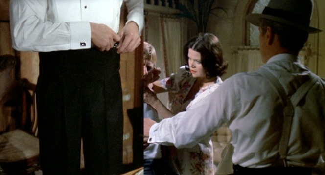 Gondorff's cuffs, cummerbund, and suspenders/braces. Note Gondorff's brothel madam girlfriend is played in an early but notable role. (She was 40 at the time.)