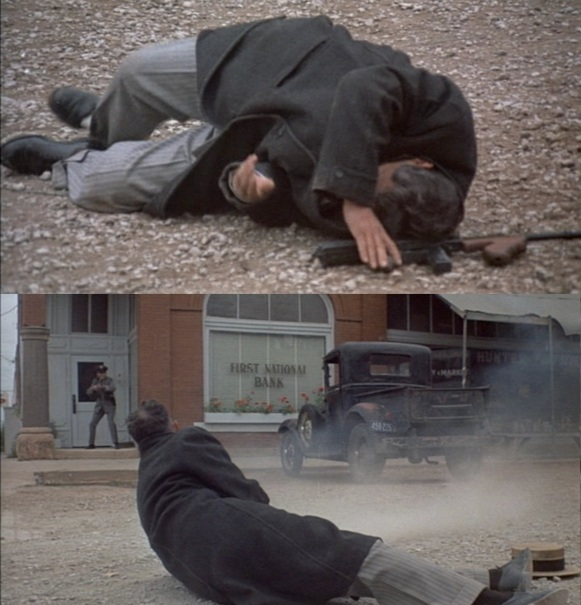 The film softens the O'Malley murder by having O'Malley (here a guard rather than a policeman) kill Charley Makley with a shotgun. A winded Dillinger retaliates with his Thompson and, after he stumbles into the getaway car, Van Meter's shots are the ones used to fatally shoot the guard. Here, Dillinger reaches for his Thompson after he is hit by the getaway car (top) and reacts to the shooting of his buddy Makley (bottom).