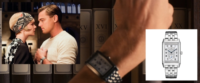 Gatsby's watch and, inset, the most similar Reverso model I could find on the Internet.