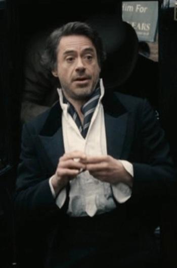 Robert Downey, Jr. as Sherlock Holmes in Sherlock Holmes (2009).