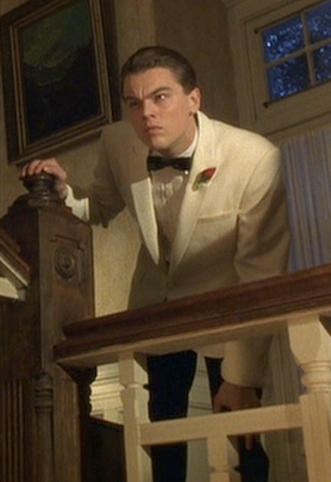 Leonardo DiCaprio as a furtive Frank Abagnale, Jr. in Catch Me If You Can (2002).