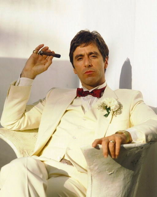 The Scarface White Wedding Suit | BAMF Style