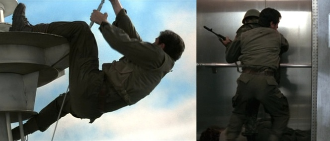 Based on the angle and the nature of these scenes, I'm actually pretty convinced that these are both shots of Pierce's stuntman so, uh, this is awkward...