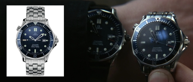 Trevelyan plays with the watches. Bond's is, naturally, the better featured one in the shot.