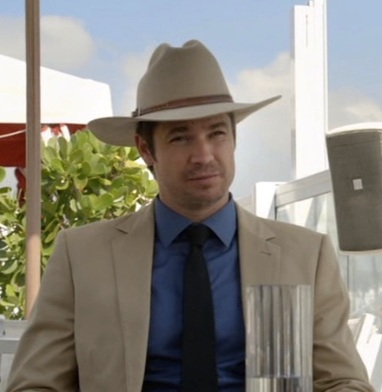 Timothy Olyphant as U.S. Marshal Raylan Givens in the pilot episode of Justified.