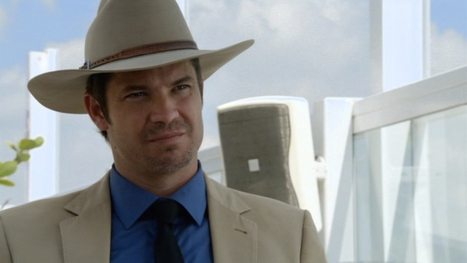 And I'm not just saying that because I'd be scared shitless to call Raylan Gives a caricature.