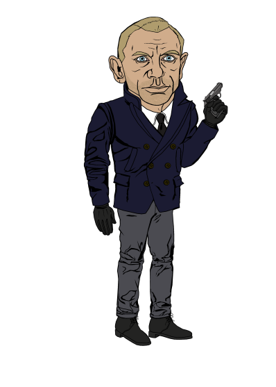 I couldn't help but to include this. Brady Major at DeviantArt.com created this pretty accurate caricature as Daniel Craig, even nailing the details of the pea coat and trousers.