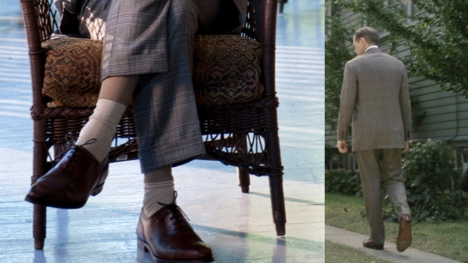 Nucky's footwear in a production photo (left) and in action (right).