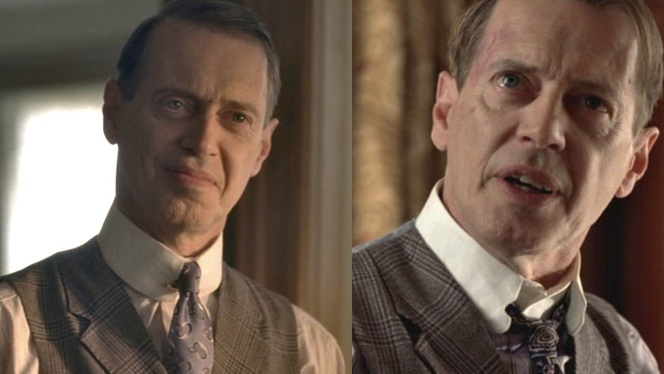 Nucky's distinctive collar, which is obviously not meant to be worn with a loose tie.