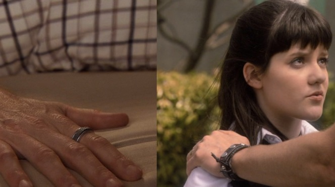 Hank's ring and studded cuff bracelet.