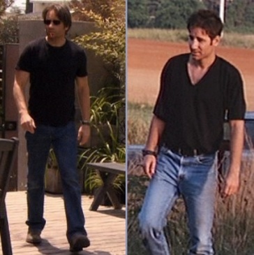 "David Duchovny as Hank Moody on Californication (left) and a slightly more '90s version of a similar character, Brian Kessler in Kalifornia (right). (The Californication screenshot is from Episode 2.01, ""Slip of the Tongue"".)"