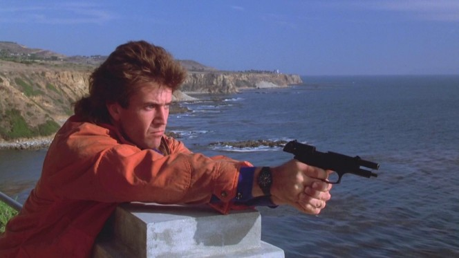 In a welcome dose of realism, Riggs is actually unable to shoot down the helicopter with his 9 mm pistol.