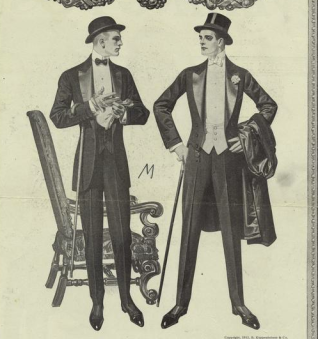 A couple of 1912 gentlemen. The dinner jacket (left) was just coming en vogue, but an old money type like Cal would sport white tie regardless.