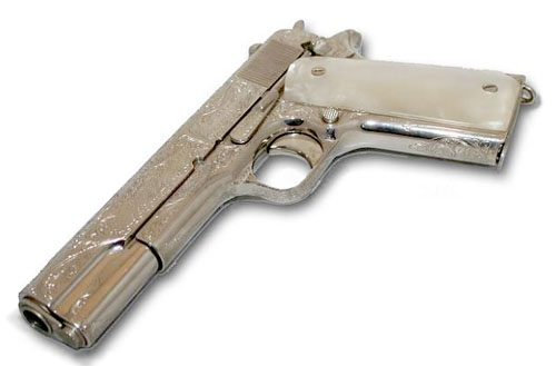 The impressive but anachronistic M1911A1 rented from Stembridge for use in Titanic.