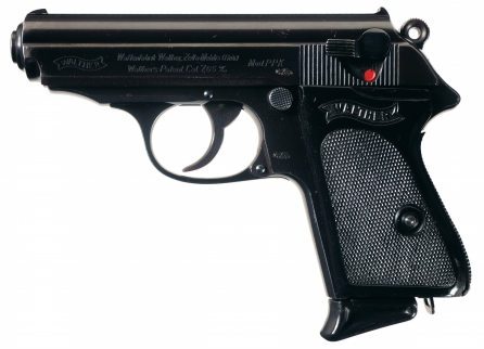 An all-black Walther PPK chambered in 7.65x17 mm Browning, also known as .32 ACP.