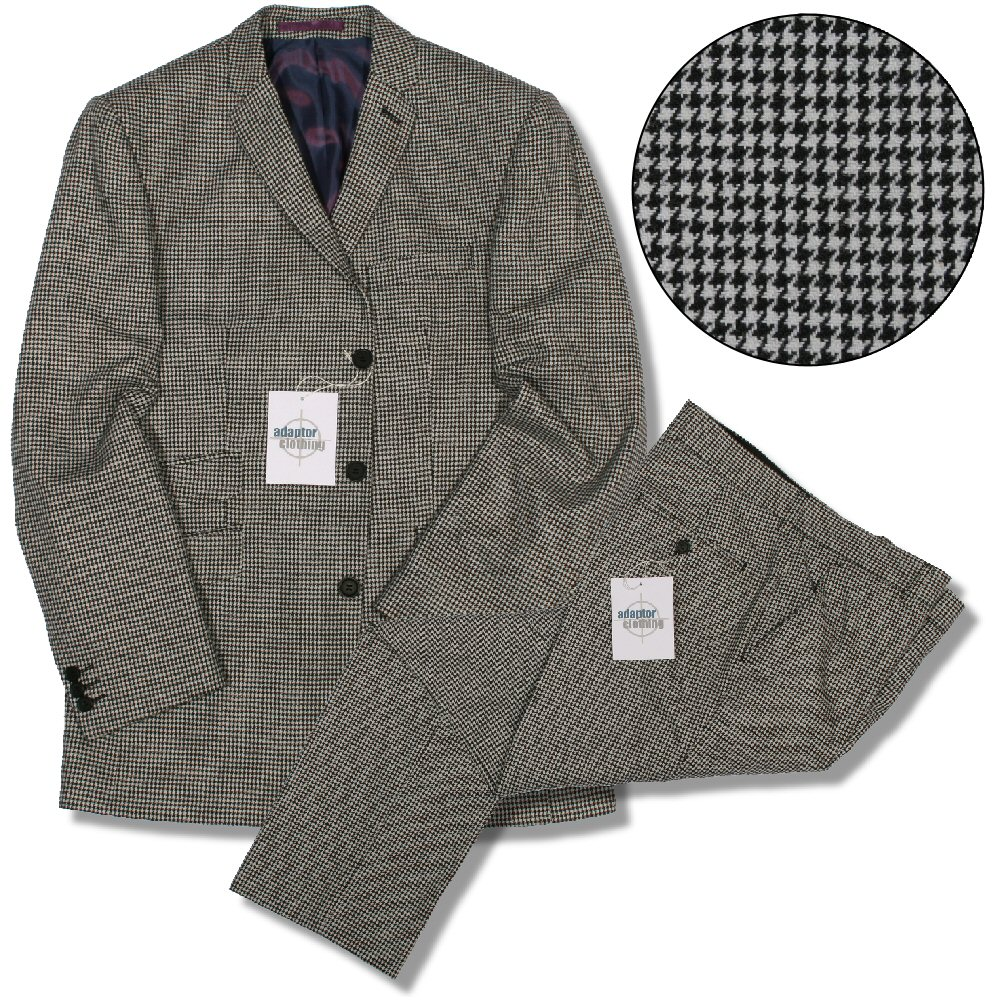 256086943a A black and white houndstooth suit offered by Adaptor Clothing of the UK